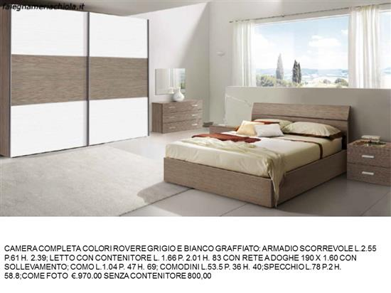 Camera Da Letto In Rovere Grigio : Camera matrimoniale rovere grigio e bianco graffiato con letto