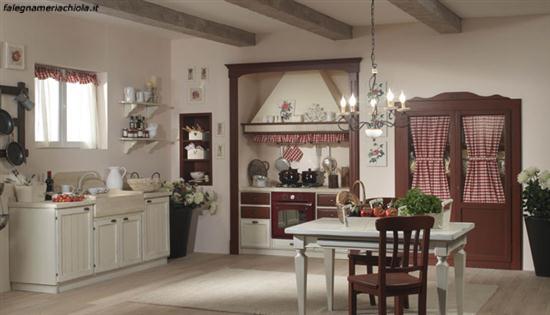 Cucina su misura decape bianco e noce falegnameria chiola - Cucine componibili classiche lineari ...