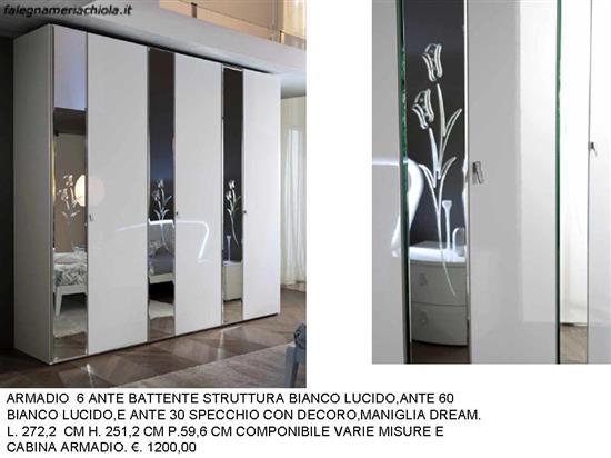 Armadio Ante Battenti A Specchio.Armadio 6 Ante 60 30 Con Specchio Decoro N 51 M Ma Falegnameria Chiola