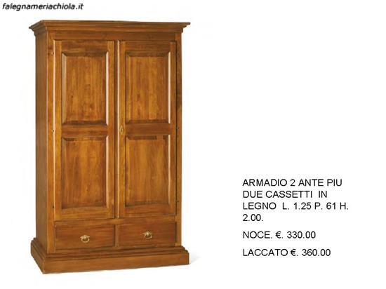 ARMADIO 2 ANTE PIU 2 CASSETTI LEGNO MASSICCIO E LIBRERIA N. 53 C.T. ...
