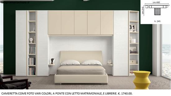 Libreria Letto Matrimoniale : Camera lineare con due librerie a ponte e letto matrimoniale. n. 66