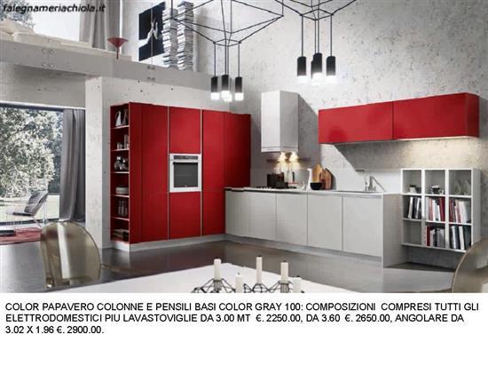 CUCINA COLOR PAPAVERO N. 63 M. H. | Falegnameria Chiola