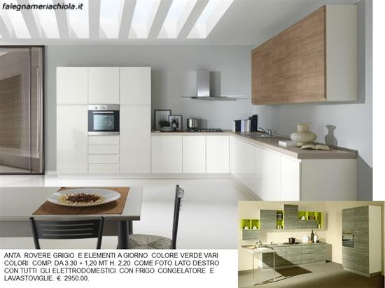 Cucina bianco lucido e tortora tranche n 150 m n - Cucina grigio tortora ...