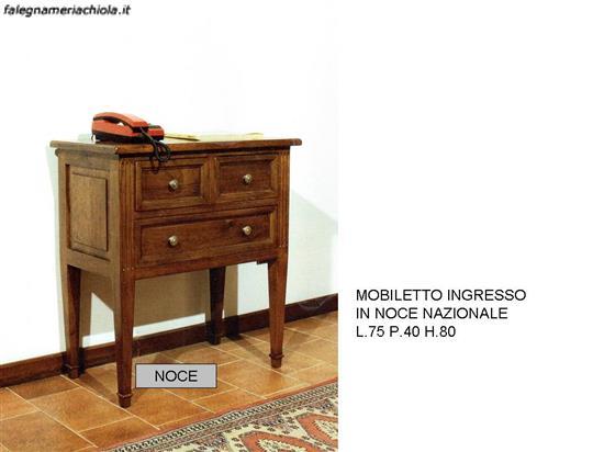 Ingressi mobiletto 3 cassetti noce n 2 c cp falegnameria chiola - Mobiletto per ingresso ...