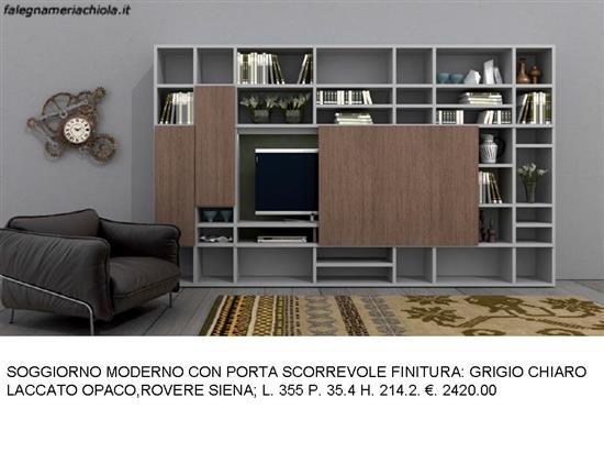 SOGGIORNO PORTA SCORREVOLE FINITURA GRIGIO CHIARO E ROVERE ...