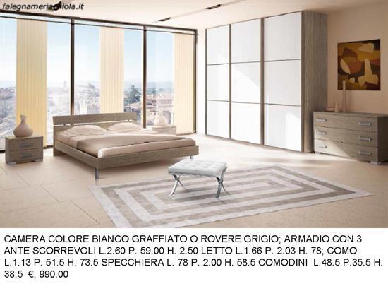 CAMERA MATRIMONIALE COLORE ROVERE GRIGIO CON ARMADIO 3 ANTE ...
