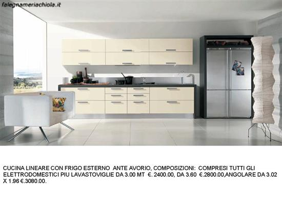 CUCINA LINEARE CON FRIGO ESTERNO N. 168 M. ES. | Falegnameria Chiola