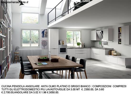 Cucine Bianco Grigio : Cucina angolare ante olmo platino e grigio bianco n m es