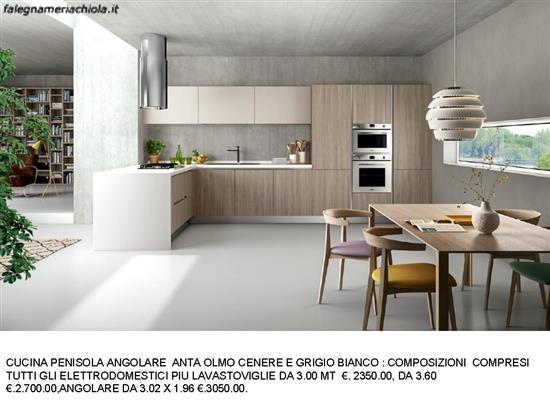 Cucina Anta Olmo Cenere E Grigio Bianco N 93 M Es Falegnameria Chiola