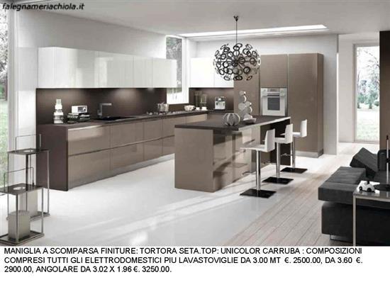 Cucina con maniglie a scomparsa tortora e seta n 52 m h falegnameria chiola - Cucina bianca e tortora ...