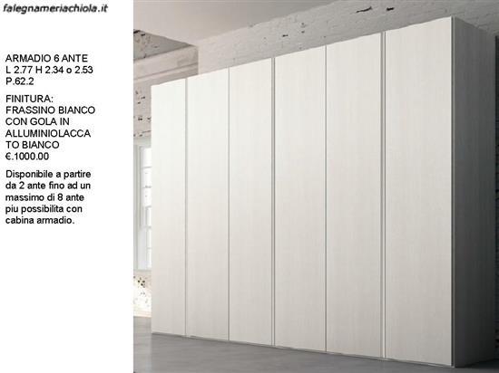 Armadio 6 Ante Laccato Bianco.Armadio Lineare 6 Ante Frassino Bianco N 5 M Vi Falegnameria Chiola