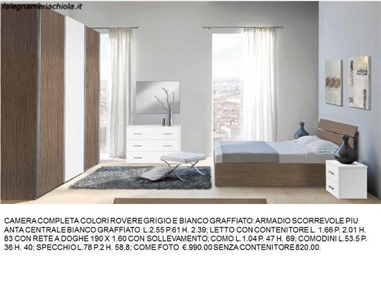 CAMERA COMPLETA COLORI ROVERE GRIGIO E E BIANCO GRAFFIATO N. 86 M ...