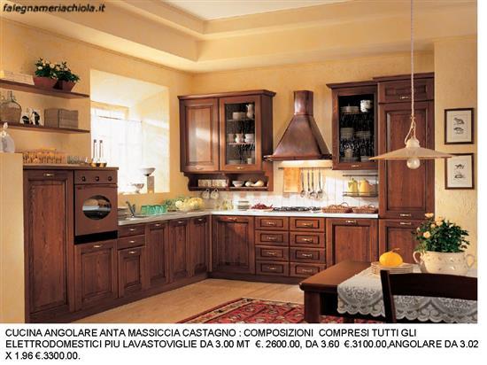 CUCINA ANTA CASTAGNO MASSICCIO CON CAPPA CAMINO RAME N. 83 C. H. ...
