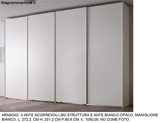 ARMADIO 4 ANTE SCORREVOLI BIANCO OPACO N. 68 M.MA | Falegnameria Chiola