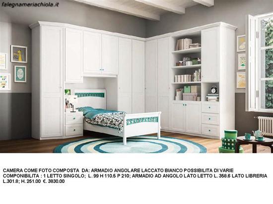 cameretta con alcova per letto singolo e armadio angolare n. 5 c ... - Armadio Angolare Cameretta