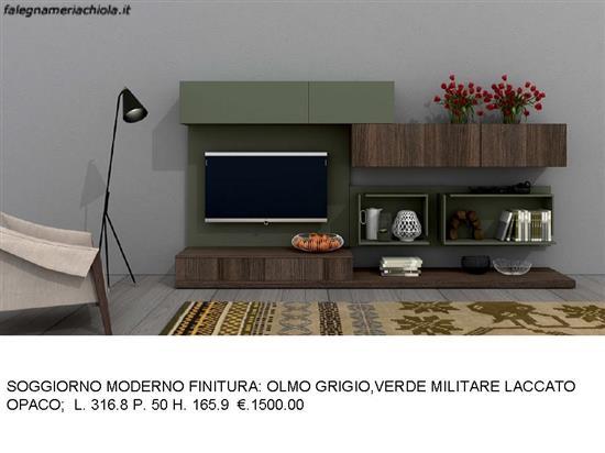 SOGGIORNO VERDE MILITARE E OLMO GRIGIO N. 4 M. VI. | Falegnameria Chiola
