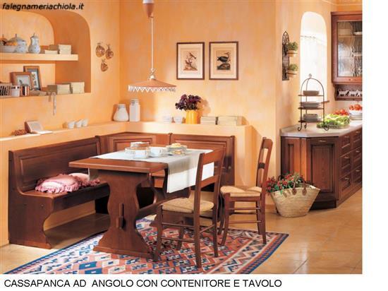 CUCINA CON CASSAPANCA ANGOLARE CON TAVOLO N. 81 C. H. | Falegnameria ...
