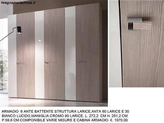 ARMADIO 6 ANTE LARICE E BIANCO LUCIDO 60-30 N. 49 M.MA.  Falegnameria Chiola