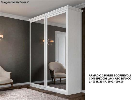 Armadio Bianco Con Specchio.Armadio Scorrevole 2 Ante Specchio