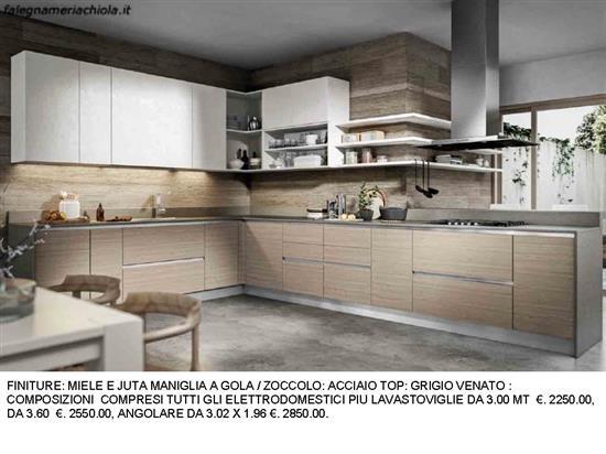 CUCINA ANGOLARE CON MENSOLE A GIORNO N. 8 M. H. | Falegnameria Chiola