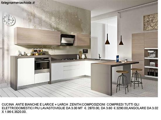 Cucine Moderne Con Ante Scorrevoli.Cucina Ante Larice E Bianche Con Penisola A U N 107 M Es