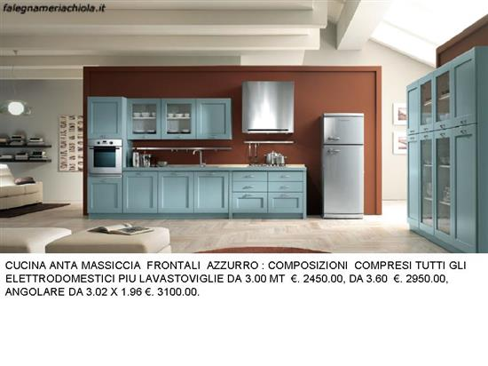Cucina frigo esterno 2 pareti azzurra n 110 c h - Cucine con frigo esterno ...