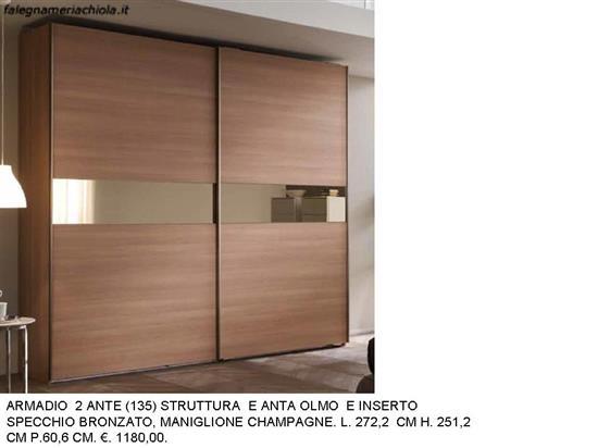 Armadio 2 ante scorrevoli inserto specchio bronzato n 56 - Armadio 2 ante scorrevoli specchio ...