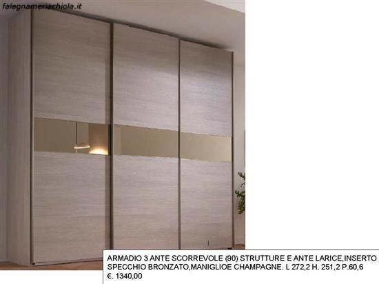 Armadio 3 Ante Scorrevoli Specchio.Armadio 3 Ante Scorrevole Specchio Bronzato N 63 M Ma