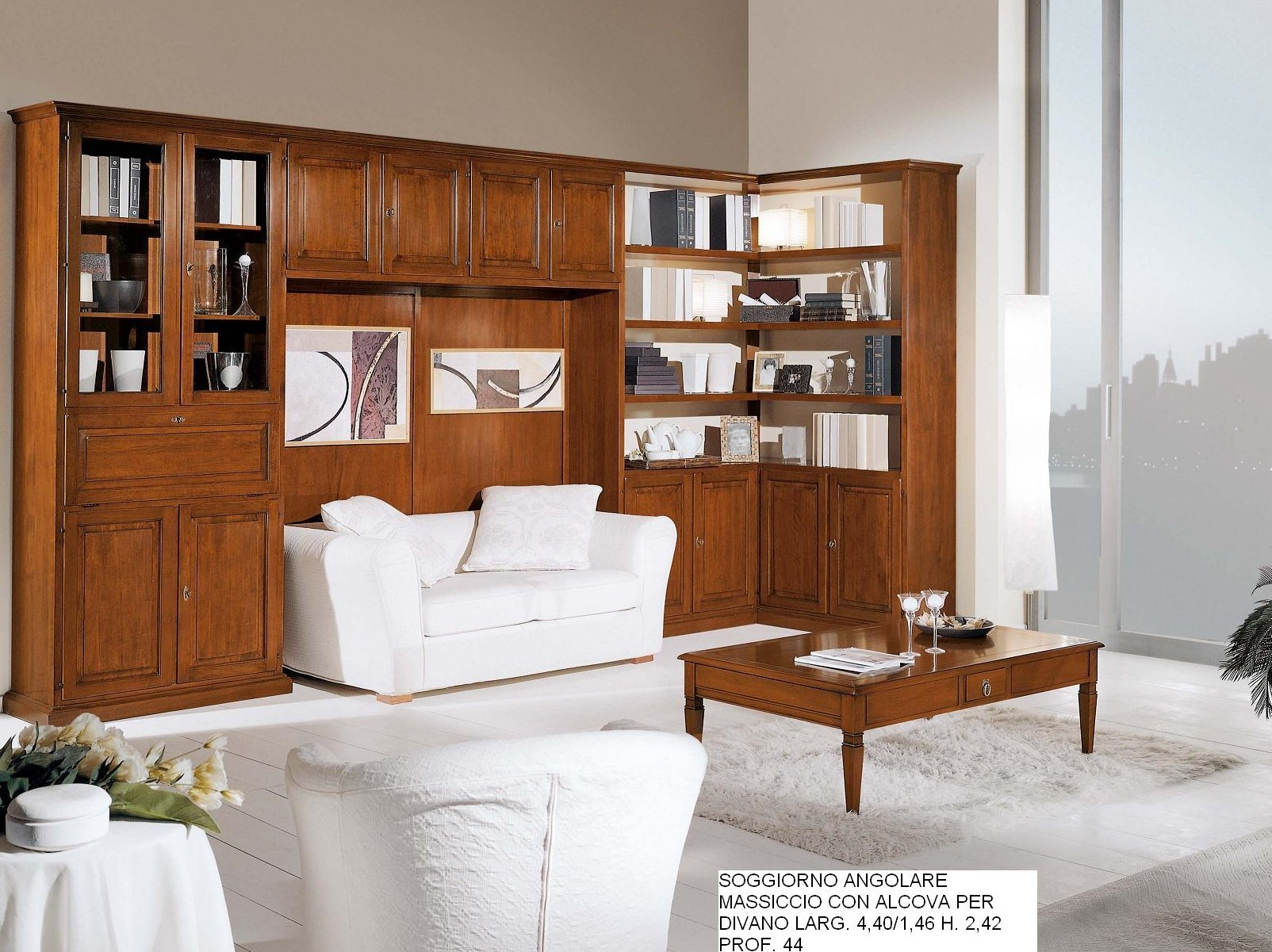 Soggiorno con divano c cm falegnameria chiola for Soggiorni ad angolo moderni
