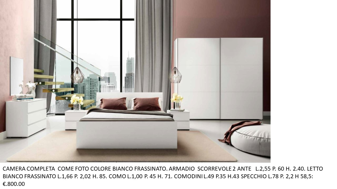 CAMERA COMPLETA COME FOTO COLORE BIANCO FRASSINATO CON ...