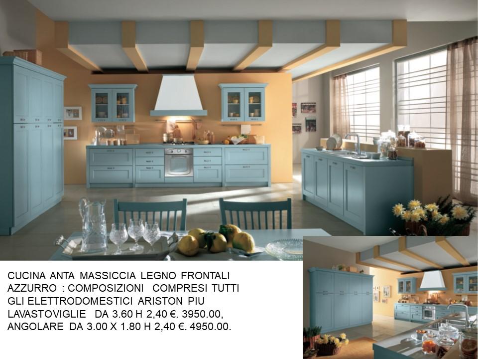 CUCINA IN FRASSINO AZZURRO 3 PARETI N 102 C H | Falegnameria ...