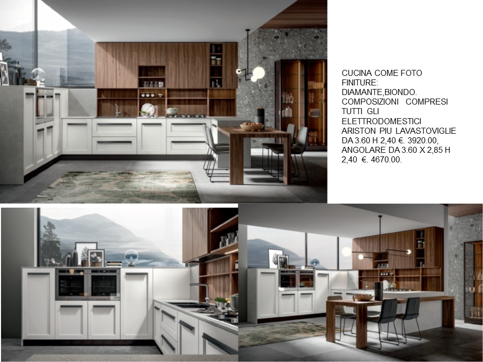 Cucine Moderne Con Dispensa.Cucina Frontali Diamante Biondo Con Colonne Basse A Dispensa