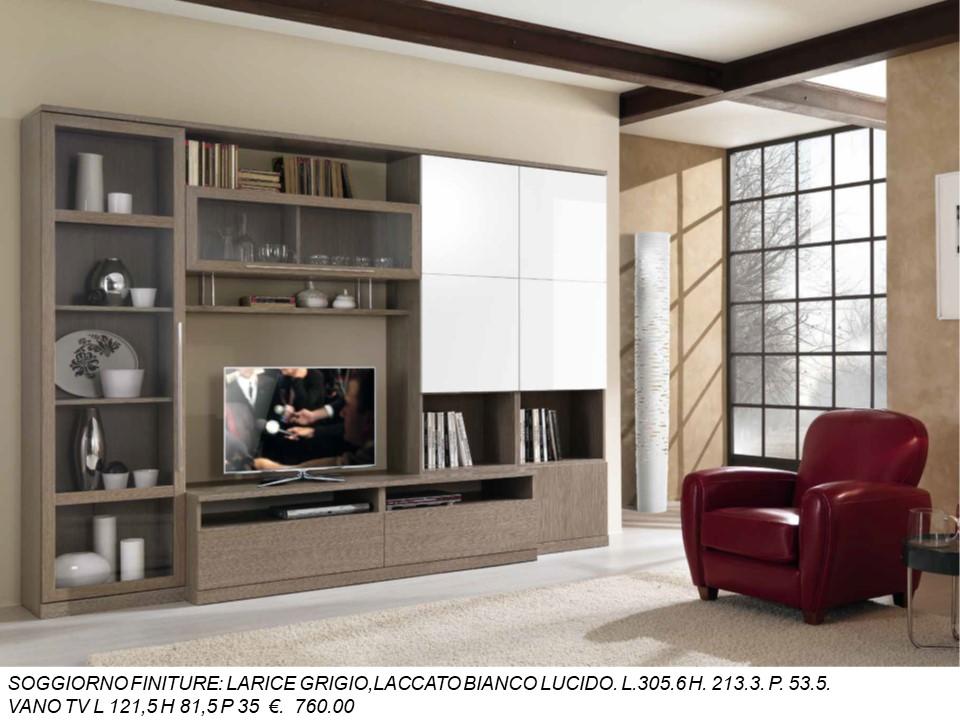 SOGGIORNO LARICE GRIGIO, LACCATO BIANCO LUCIDO N. 2 M MC ...