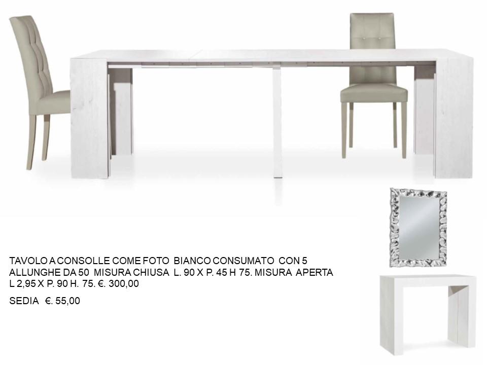 Tavolo Consolle Mezzaluna Allungabile.Tavolo Consolle Bianco Consumato Con 5 All Da 50 N 44 M T C