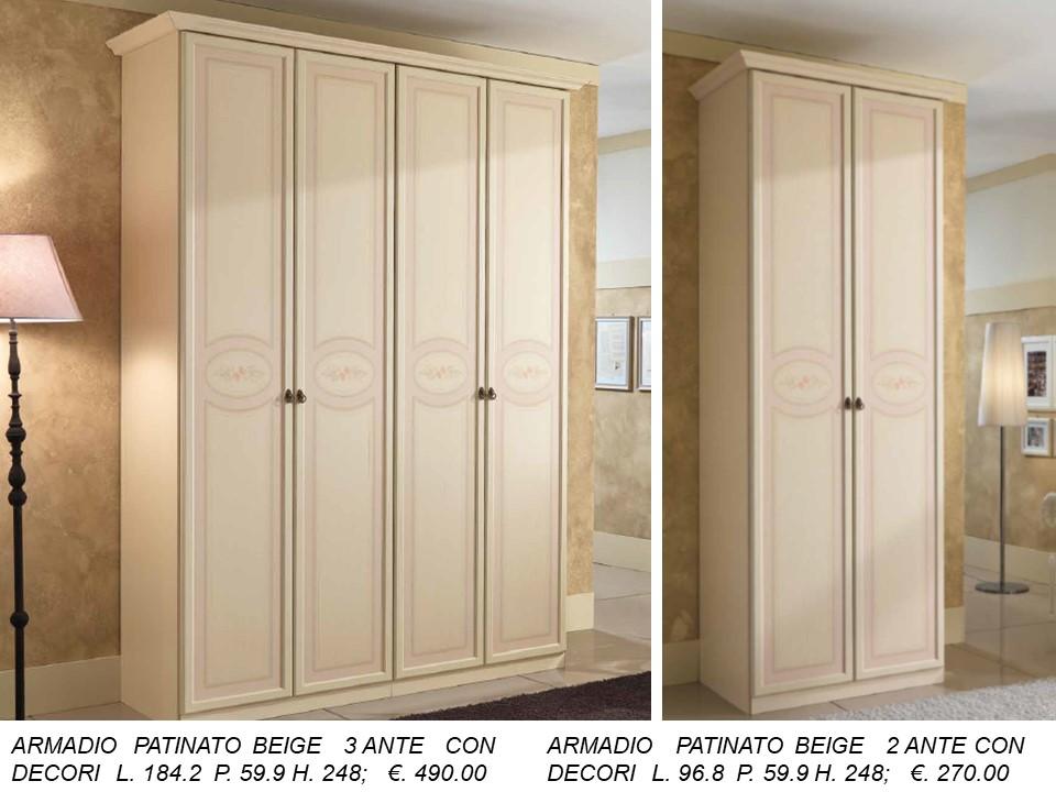 Armadi A Due Ante Classici.Armadio A 4 E 2 Ante Patinato Beige Con Decori N 46 C Mc