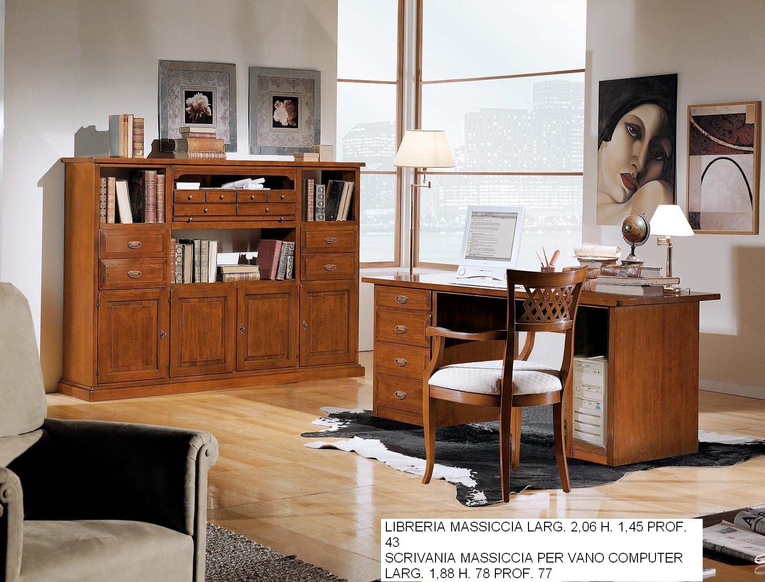 Libreria Ad Angolo Con Scrivania.Libreria Con Scrivania Classico Massiccio N 44 C Cm
