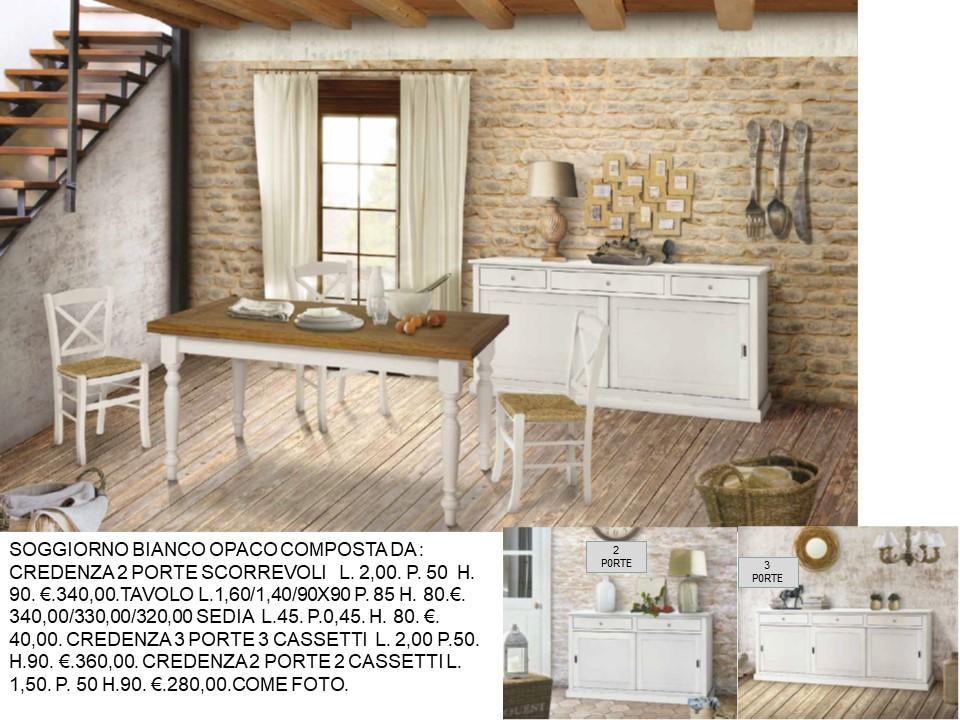 Credenza Con Porte Scorrevoli : Sala composta da credenza ante scorrevoli tavolo e sedie bianco