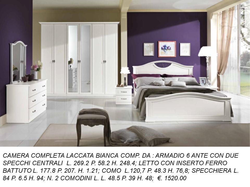 Camere Da Letto Classiche Con Ante Scorrevoli.Camera Completa Laccata Bianca Con Letto A Cappello Da Prete N 93 1 C Mc Falegnameria Chiola