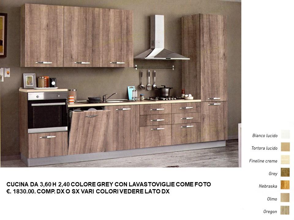 CUCINA DA 3,60 H 2,40 COLORE GREY CON LAVASTOVIGLIE COME ...