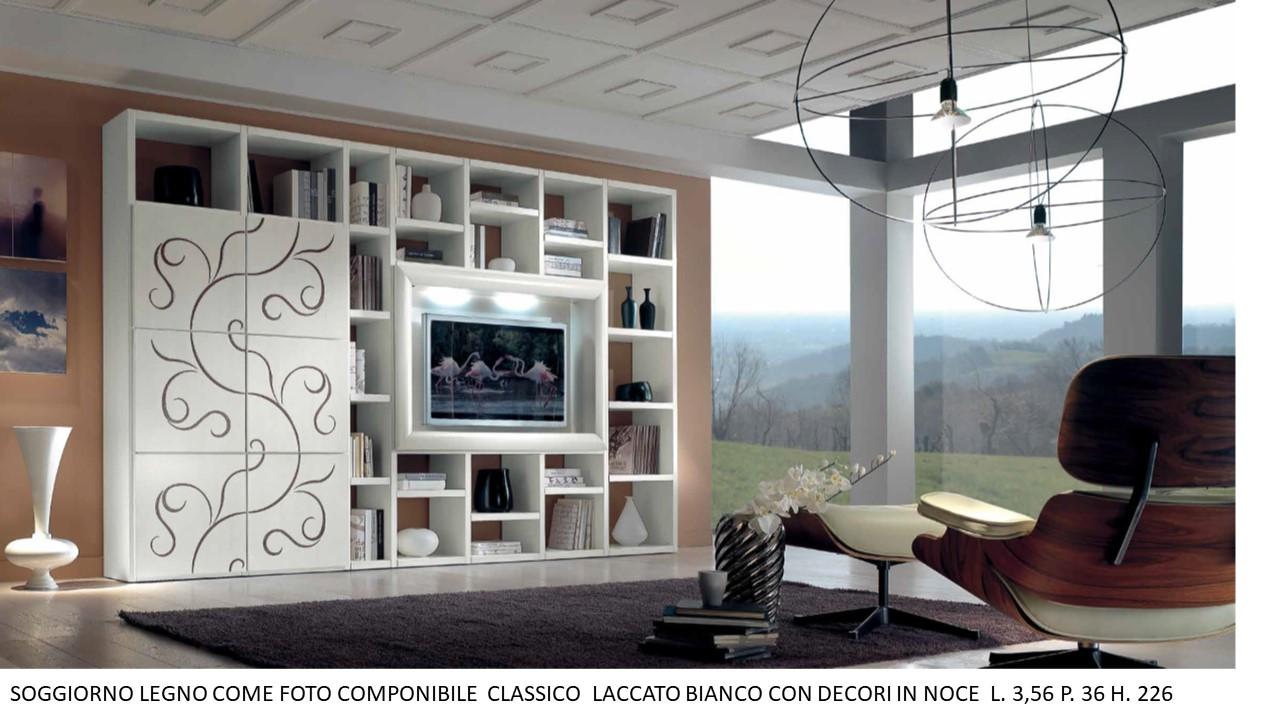 SOGGIORNO LEGNO COME FOTO COMPONIBILE CLASSICO LACCATO ...