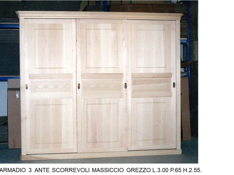 ARMADIO 3 ANTE SCORREVOLI MASSICCIO GREZZO 101 C TO ...