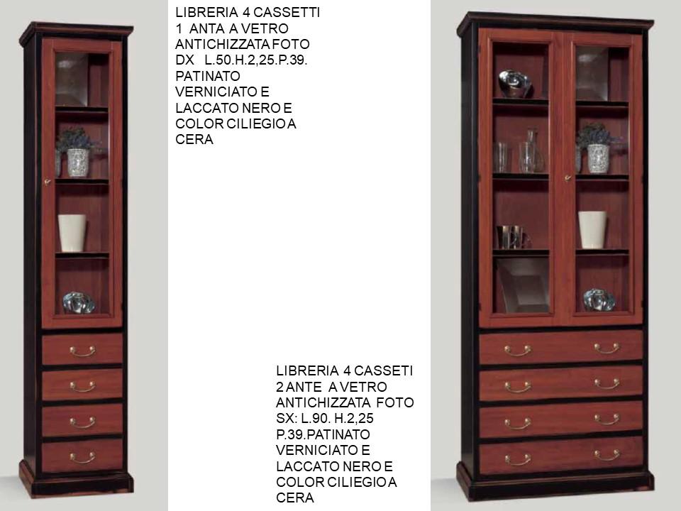 LIBRERIA 4 CASSETTI 1 ANTA A VETRO ANTICHIZZATA E LIBRERIA ...