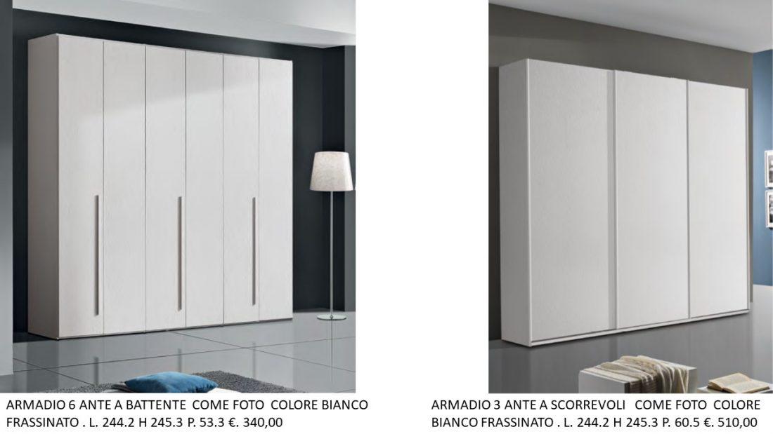 ARMADIO 6 ANTE A BATTENTE COLORE BIANCO FRASSINATO E A TRE ...